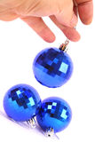 Christmas Blue glass ball Stock Photo