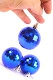Christmas Blue glass ball. Christmas Toys: Three blue glass ball. Soft shadow Stock Photo