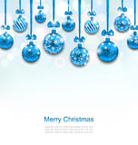 Christmas Blue Glassy Balls with Bow Ribbon. Illustration Christmas Blue Glassy Balls with Bow Ribbon, Shimmering Light Background - Vector Royalty Free Stock Image