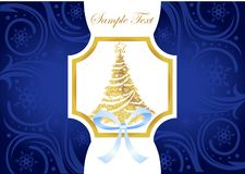 Christmas blue and gold greeting card with Stock Image