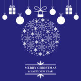 Christmas blue greeting card with snowball and gifts Royalty Free Stock Image