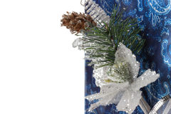 Christmas blue greeting card on the white background Royalty Free Stock Photography