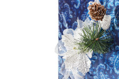 Christmas blue greeting card on the white background Stock Image