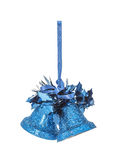 The Christmas blue hanging decoration bell Royalty Free Stock Image