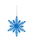 The Christmas blue hanging decoration snowflake Royalty Free Stock Image