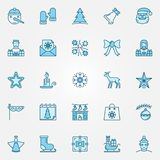 Christmas blue icons set - Xmas and New Year signs. Christmas blue icons set - Xmas and New Year holidays creative signs or logo elements Royalty Free Illustration