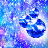 Christmas. Blue Christmas illustration with   balls and snowflakes. Christmas Greeting Card 2015.Bright winter background with beautiful  toy balls Royalty Free Stock Photography
