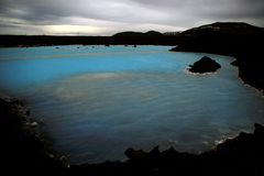 Christmas blue lagoon. Blue lagoon spa waters in winter, Iceland Stock Image