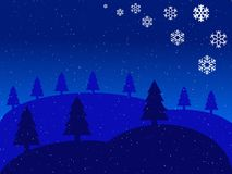 Christmas blue landscape Stock Images
