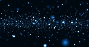 Christmas blue light shine particles bokeh loop-able on black background, holiday congratulation greeting party happy new year,