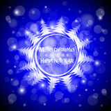 Christmas blue light vector background. Card or invitation. Stock Image