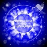 Christmas blue light vector background. Card or invitation. Stock Photo