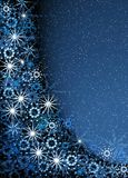 Christmas blue magic frame. Christmas blue background. Snowflakes and snow Stock Photography