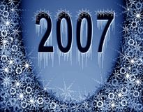 Christmas blue magic frame. New 2007 year. Christmas blue background. Snowflakes and digital 2007 Royalty Free Stock Photo