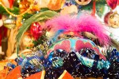 Christmas Blue Mask. Decorative blue Christmas mask with holiday decorations background Stock Images