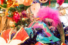 Christmas Blue Mask. Decorative blue Christmas mask with holiday decorations background Stock Photography
