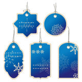 Christmas Blue nad winter price tags Royalty Free Stock Photo