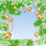 Christmas blue polygonal background with fir tree, snowflakes and glass Christmas balls. Vector illustration with place for text. Winter Holiday xmas and Happy Stock Photos