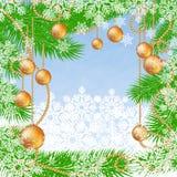 Christmas blue polygonal background with fir tree, snowflakes and glass Christmas balls. Stock Photos