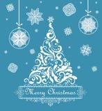 Christmas blue retro greeting card Stock Photography