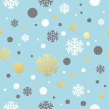 Christmas blue seamless pattern with golden, white Royalty Free Stock Photography