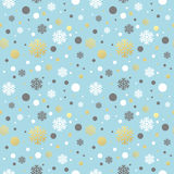 Christmas blue seamless pattern with golden, white Stock Image