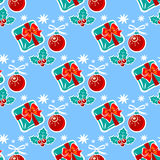 Christmas blue seamless pattern. Holly berry and gift box. Seamless pattern Stock Photography