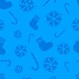 Christmas blue Seamless pattern with new year ball, candy, sock Royalty Free Stock Photos