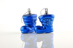 Christmas Blue Shoes on White Background Royalty Free Stock Photos