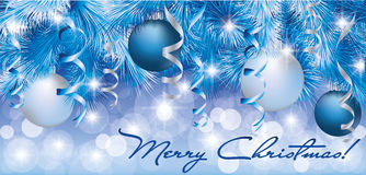Christmas blue silver banner stock illustration
