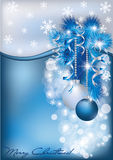 Christmas blue silver card Stock Image