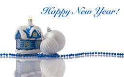 Christmas blue and silver decorations. With beads on white with reflection Royalty Free Stock Images