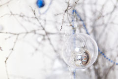 Christmas blue and silver decorations Stock Image