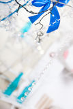 Christmas blue and silver decorations Stock Photography