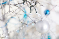 Christmas blue and silver decorations Royalty Free Stock Photo