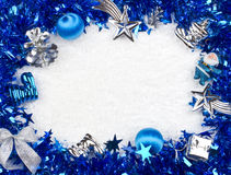 Christmas blue and silver frame Stock Photography