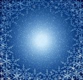 Christmas blue snow frame Royalty Free Stock Photo