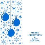 Christmas blue snowflakes and balls card vertical design Royalty Free Stock Photo