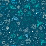 Christmas blue snowy abstract background Stock Photo
