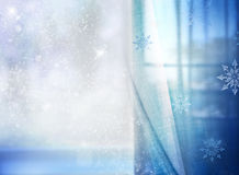 Christmas blue snowy background with empty space. Royalty Free Stock Photo