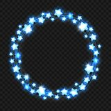 Christmas blue star light garland Royalty Free Stock Photo