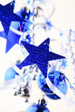 Christmas blue stars Stock Photos