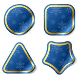 Christmas blue stickers Royalty Free Stock Photography