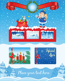 Christmas blue template with little girl Stock Images