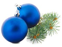 Christmas blue toy with spruce branch isolated on white background Stock Image