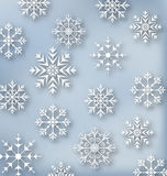 Christmas blue wallpaper with set snowflakes Royalty Free Stock Image