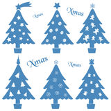 Christmas blue and white tree decoration collection Royalty Free Stock Photo