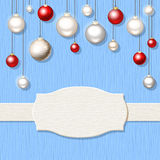 Christmas blue wooden background with red and silver balls. Vector Christmas blue wooden background with red and silver hanging balls Stock Photo