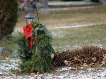 Christmas Blues. Grave decorated for Christmas stock photos