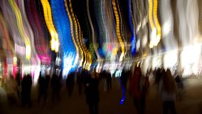 Christmas Blur. Colored Lights and shopping People at Christmas, Night and advertisement blur Royalty Free Stock Images